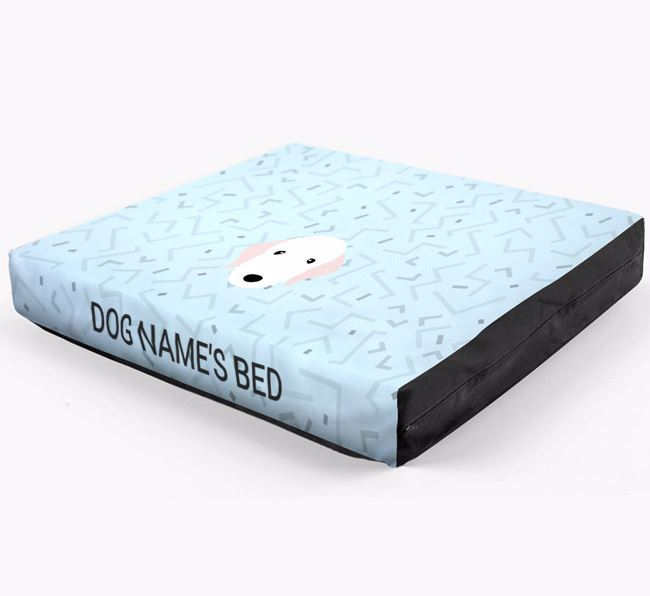 Personalised Minimal Dog Bed with Bedlington Terrier Icon