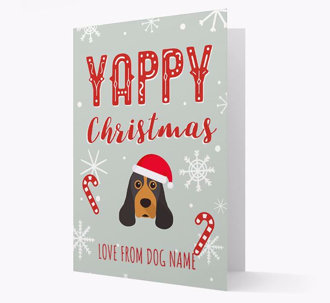Personalised 'Yappy Christmas' Card with American Cocker Spaniel Christmas Icon