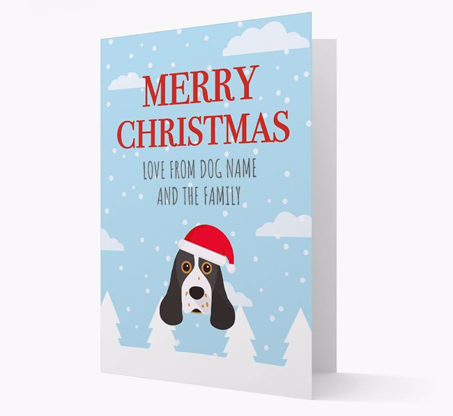 'Love from the Family' Christmas Card with your American Cocker Spaniel Christmas Icon