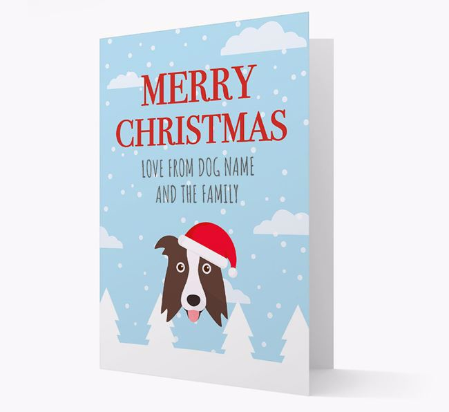 'Love from the Family' Christmas Card with your Border Collie Christmas Icon