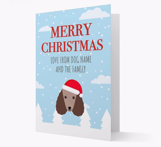 'Love from the Family' Christmas Card with your Poodle Christmas Icon