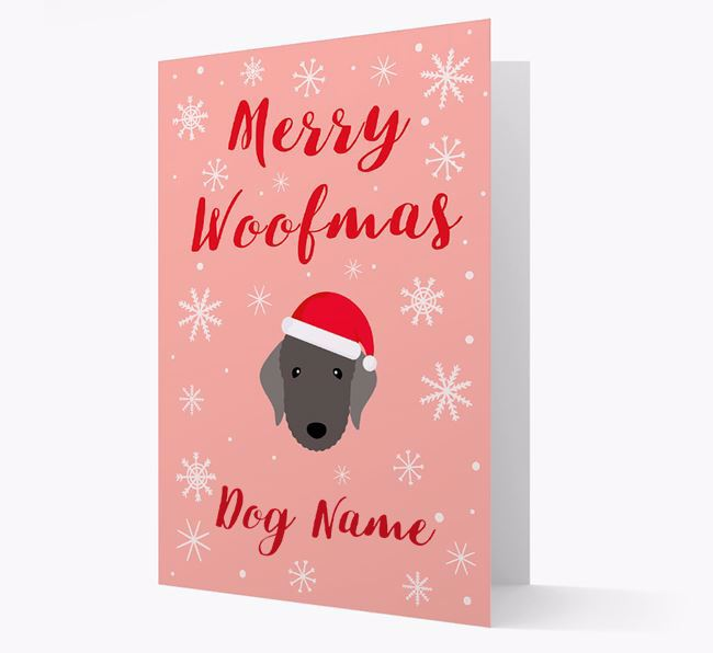 'Merry Woofmas ' Card with your Bedlington Terrier Christmas Icon