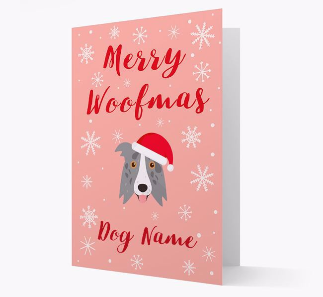 'Merry Woofmas ' Card with your Border Collie Christmas Icon