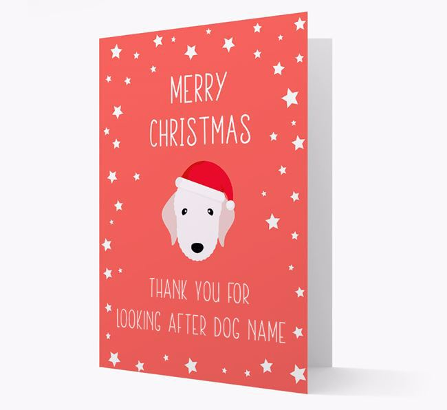 'Thank You' Christmas Card with your Bedlington Terrier Christmas Icon