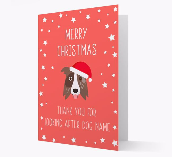 'Thank You' Christmas Card with your Border Collie Christmas Icon