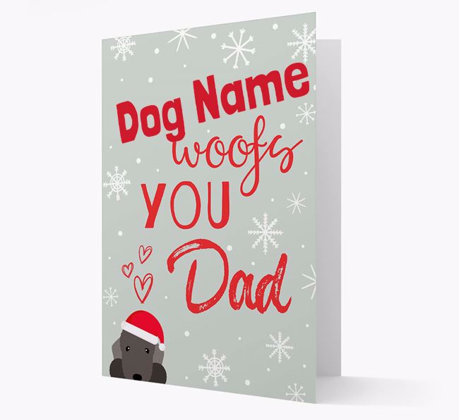 'I Woof You Dad' Card with your Bedlington Terrier Christmas Icon