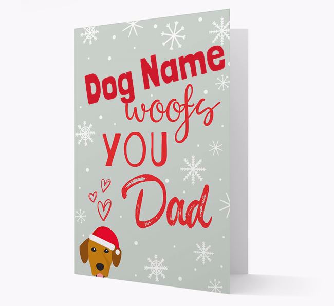 'I Woof You Dad' Card with your Springador Christmas Icon