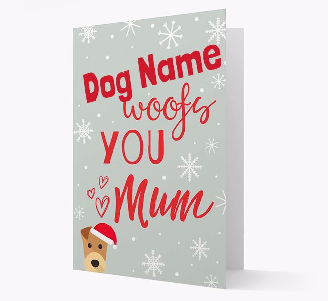 'I Woof You Mum' Card with your Airedale Terrier Christmas Icon