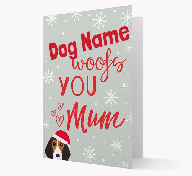 'I Woof You Mum' Card with your Beagle Christmas Icon