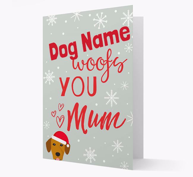 'I Woof You Mum' Card with your Springador Christmas Icon