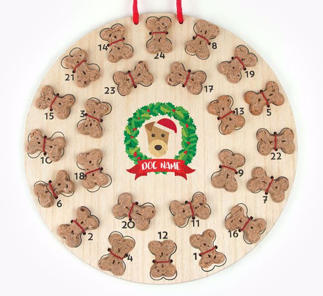Personalised Advent Calendar with Airedale Terrier Icon wearing a Santa Hat