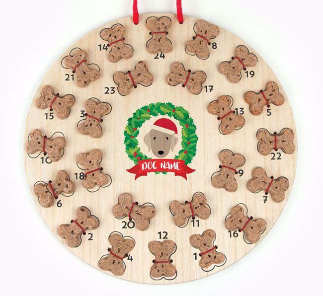 Personalised Advent Calendar with Bedlington Terrier Icon wearing a Santa Hat