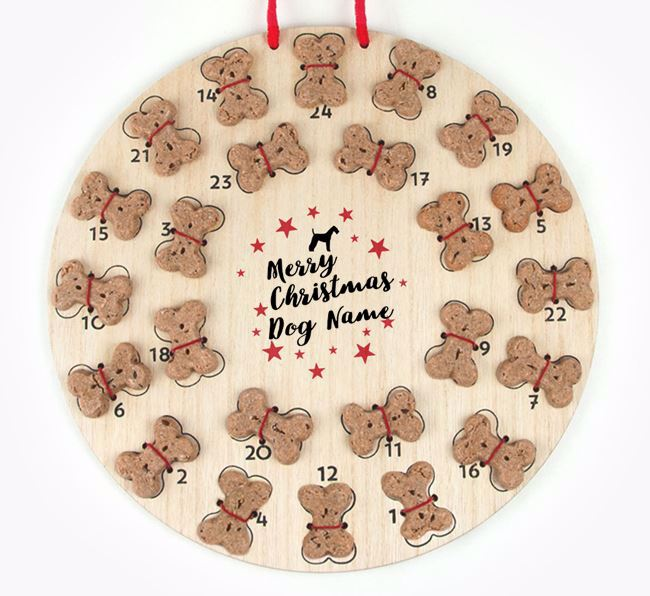 Personalised Dog Biscuit 'Merry Christmas' Advent Calendar with Airedale Terrier Silhouette