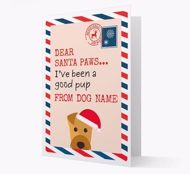 'Dear Santa' Card with your Airedale Terrier Christmas Icon