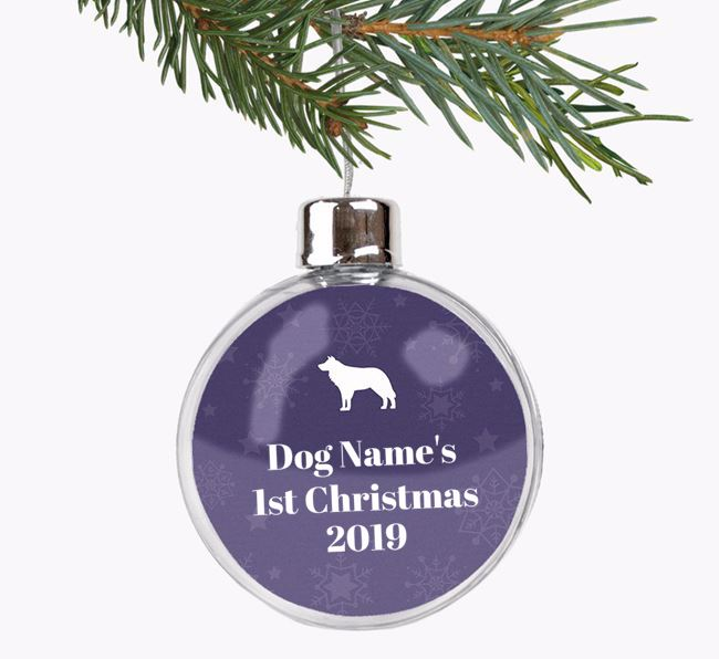 Personalised '1st Christmas' Fillable Bauble with your Border Collie Silhouette
