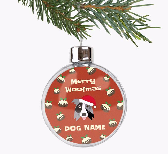 Personalised 'Merry Woofmas' Fillable Bauble with your Border Collie Christmas Icon