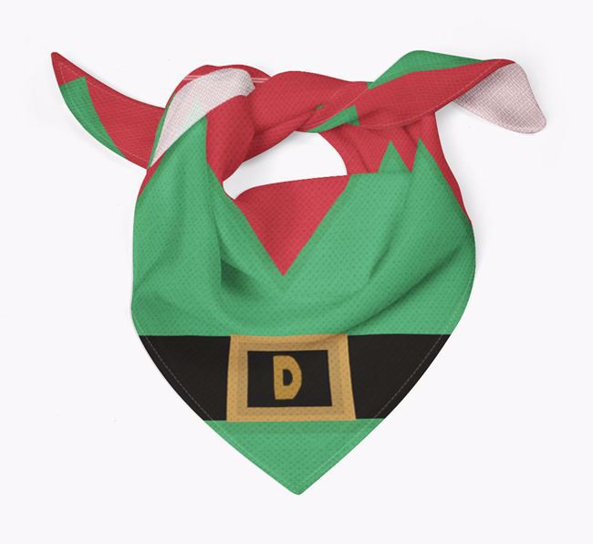 Personalised Elf Suit Christmas Bandana for your Bedlington Terrier