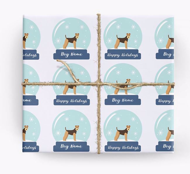 Personalised 'Snow Globe' Christmas Wrapping Paper with your Airedale Terrier Icon