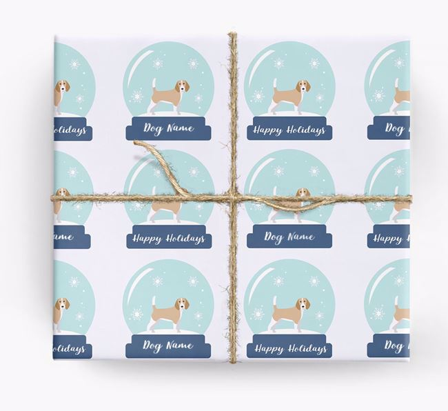 Personalised 'Snow Globe' Christmas Wrapping Paper with your Beagle Icon