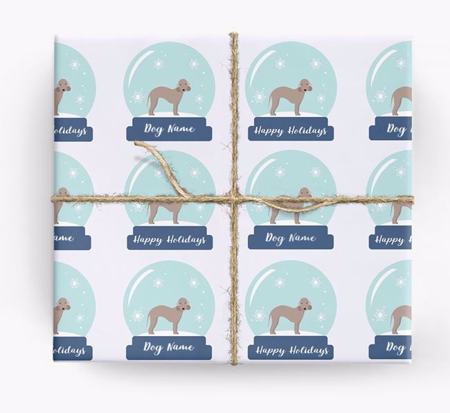 Personalised 'Snow Globe' Christmas Wrapping Paper with your Bedlington Terrier Icon