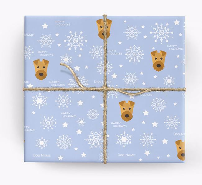 Personalised 'Happy Holidays' Christmas Wrapping Paper with your Airedale Terrier Icon