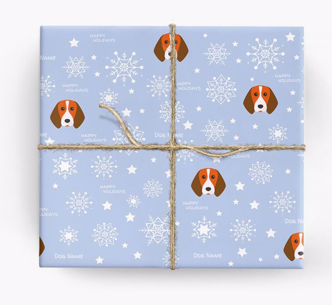 Personalised 'Happy Holidays' Christmas Wrapping Paper with your Beagle Icon