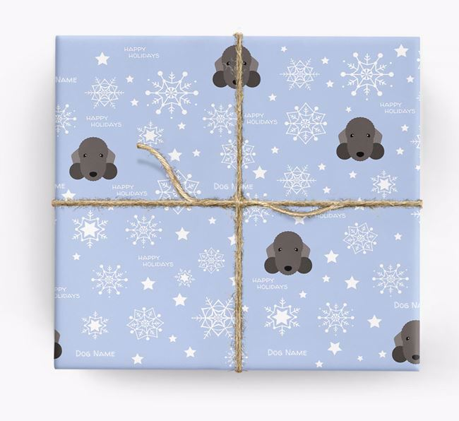 Personalised 'Happy Holidays' Christmas Wrapping Paper with your Bedlington Terrier Icon