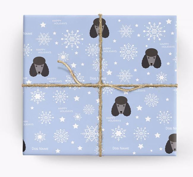 Personalised 'Happy Holidays' Christmas Wrapping Paper with your Poodle Icon