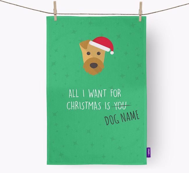 Tea Towel 'All I Want for Christmas is...' with Airedale Terrier Icon