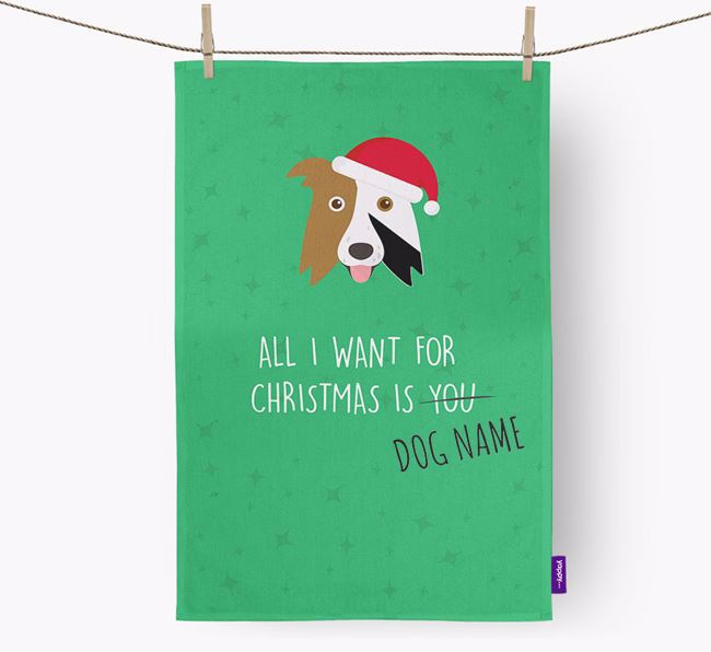 Tea Towel 'All I Want for Christmas is...' with Border Collie Icon