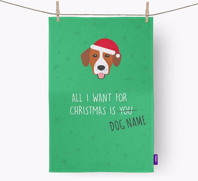 Tea Towel 'All I Want for Christmas is...' with Springador Icon