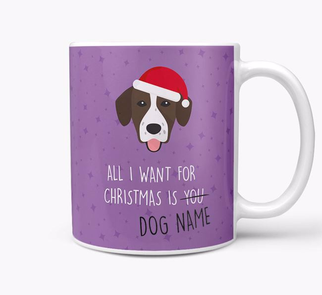 Personalised 'All I Want For Christmas Is...' Mug with Springador Icon
