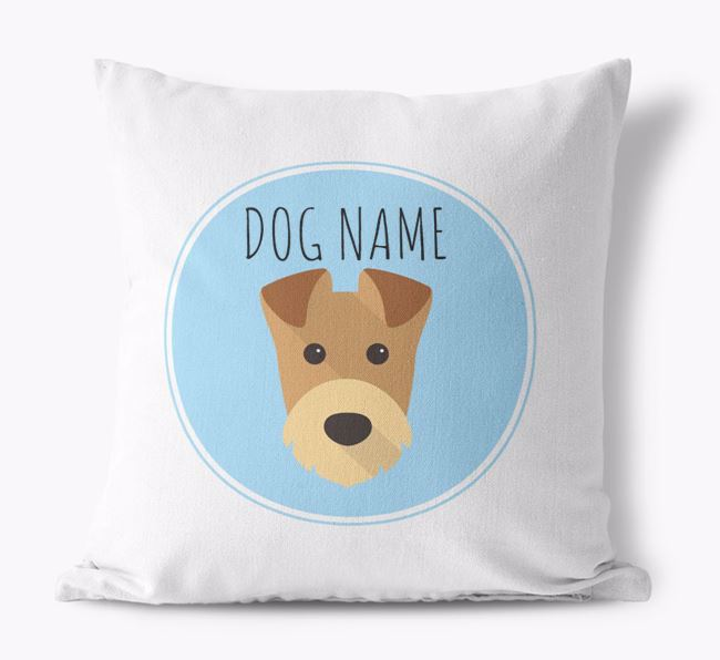 Airedale Terrier Yappicon Canvas Cushion
