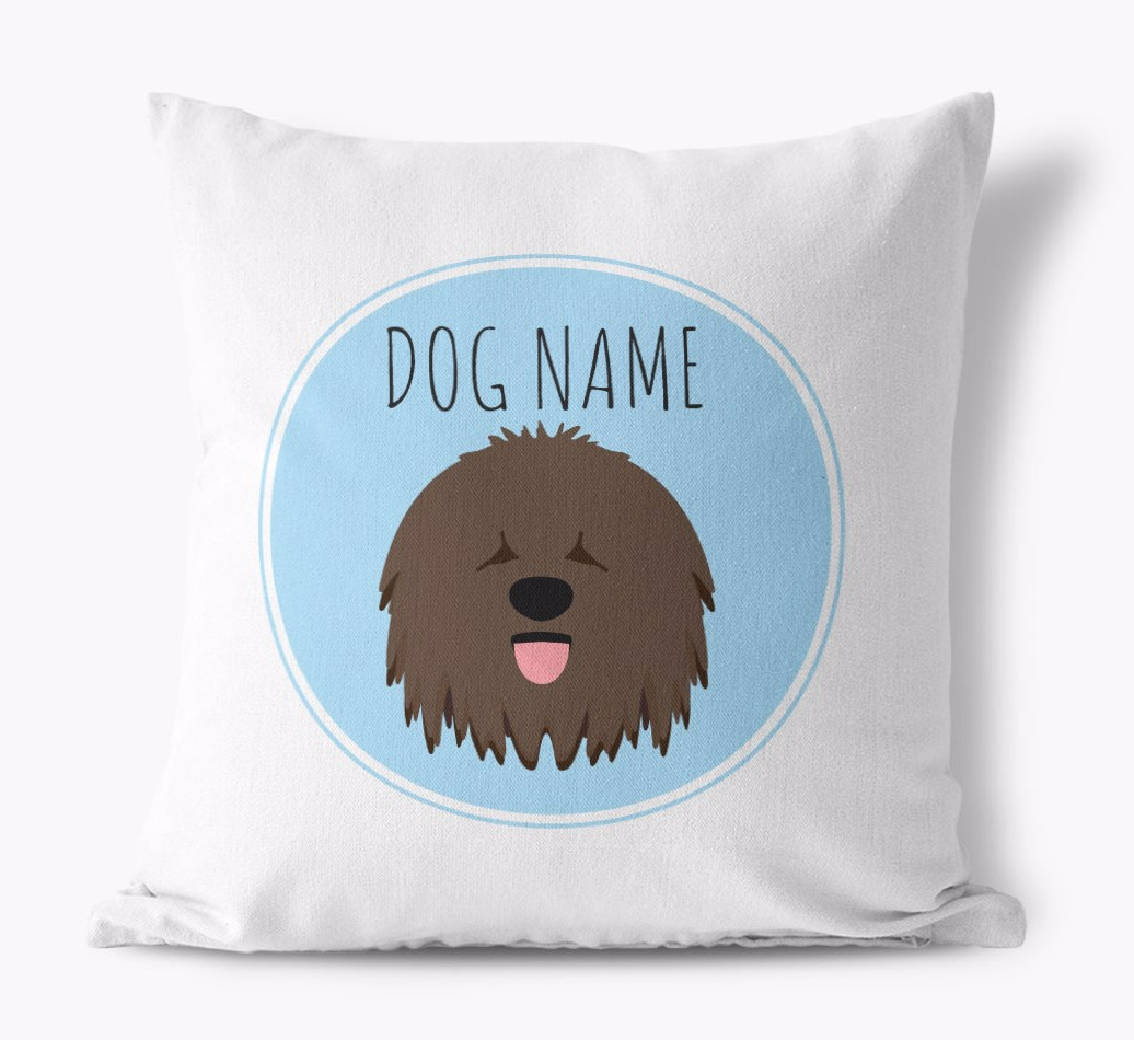 {colour} Hungarian Puli Yappicon Canvas pillow front view