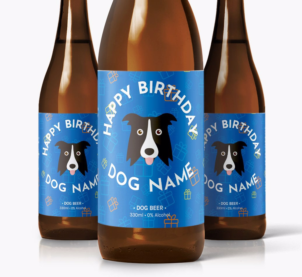 Shot of 3 personalised Border Collie Birthday Dog Beer