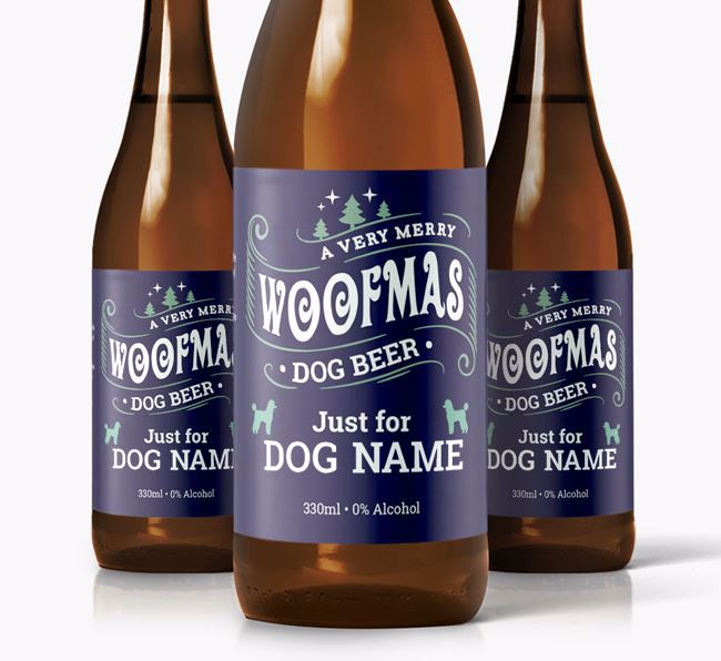Personalised 'Merry Woofmas ' Dog Beer