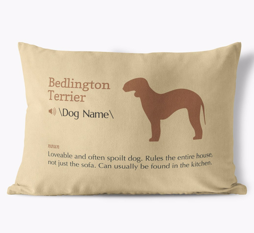 Bedlington Terrier Definition Faux Suede Cushion in {colour} front view