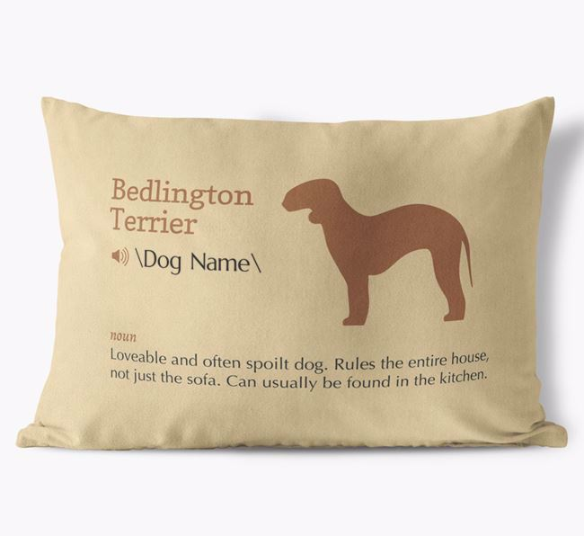 Personalised Bedlington Terrier Definition Faux Suede Cushion