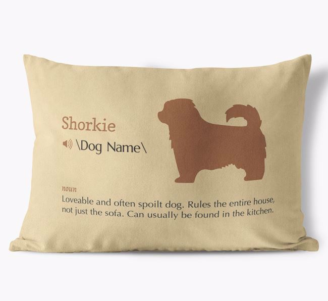 Personalized Shorkie Definition Faux Suede Pillow
