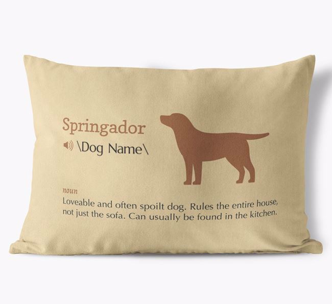Personalised Springador Definition Faux Suede Cushion