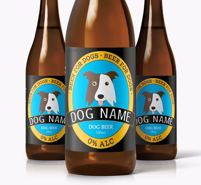 Personalised Border Collie Beer For