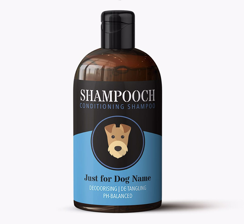 Airedale Terrier 'Shampooch - Just for...' Personalised Dog Shampoo Bottle