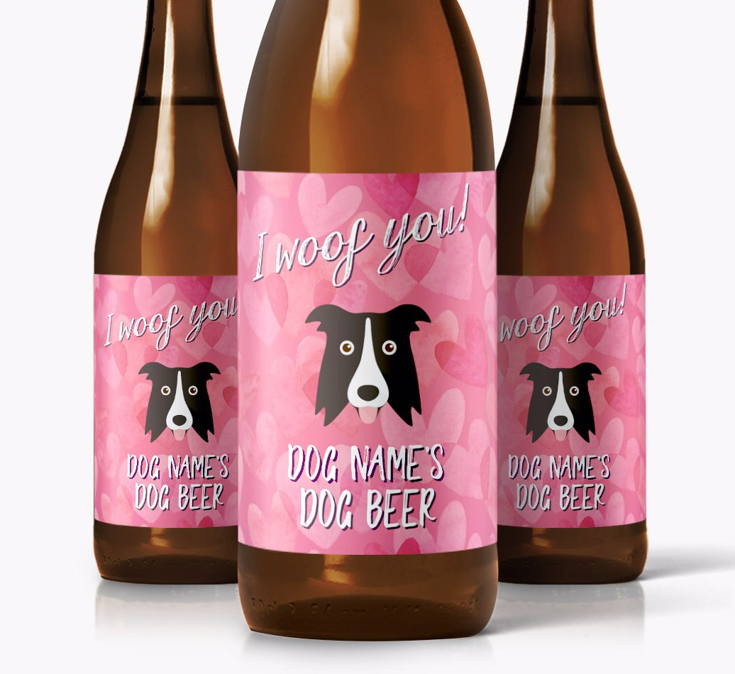 Shot of 3 'I woof you!' Beer for Border Collie