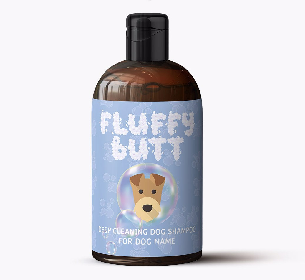 Personalised Airedale Terrier 'Fluffy Butt' Dog Shampoo Bottle