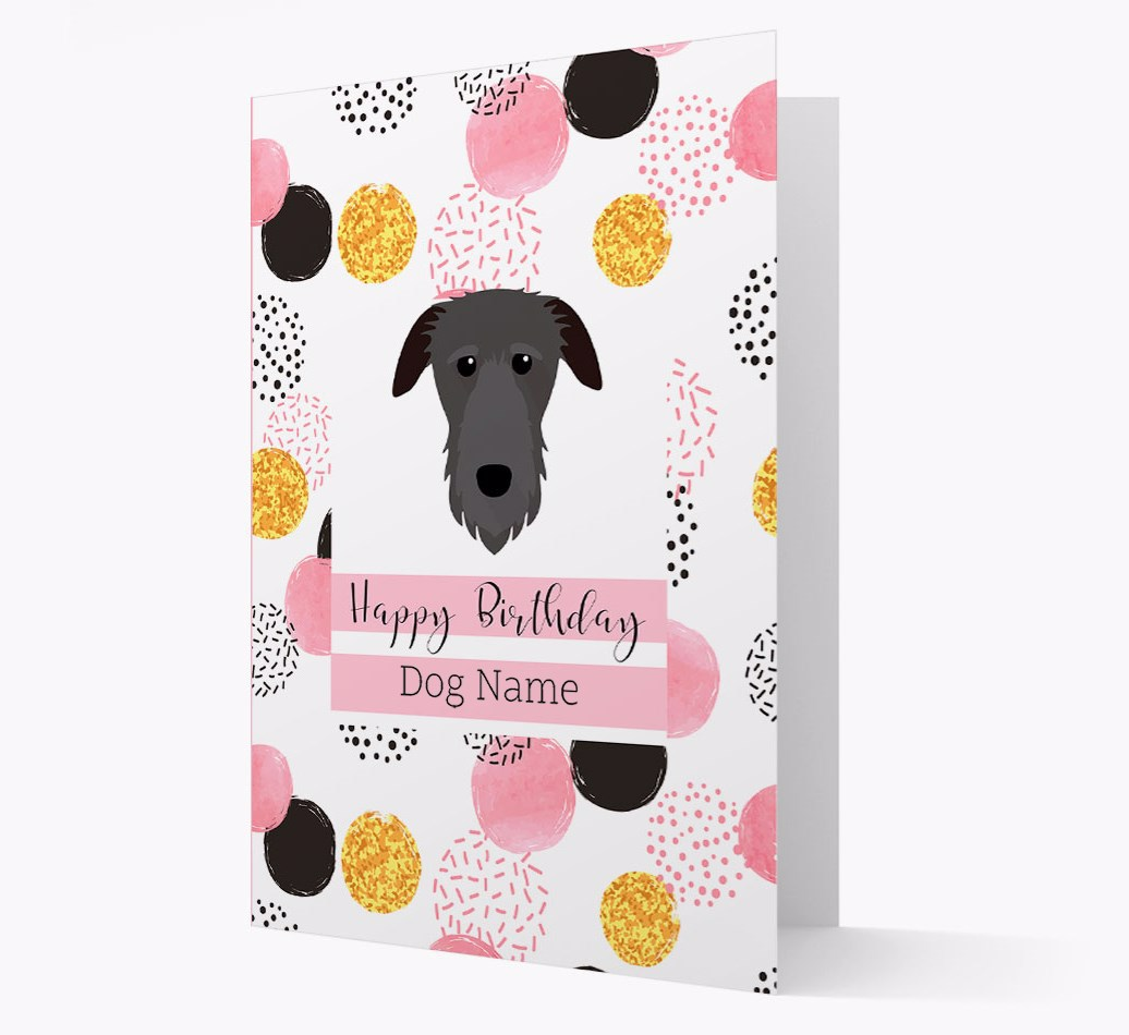 Birthday Card 'Happy Birthday {dogsName}' with Deerhound Yappicon