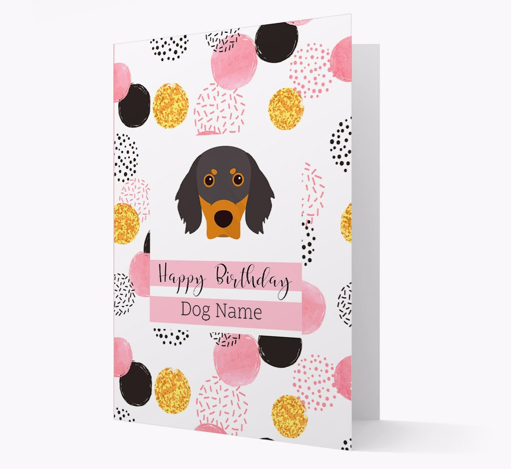 Birthday Card 'Happy Birthday {dogsName}' with Gordon Setter Yappicon