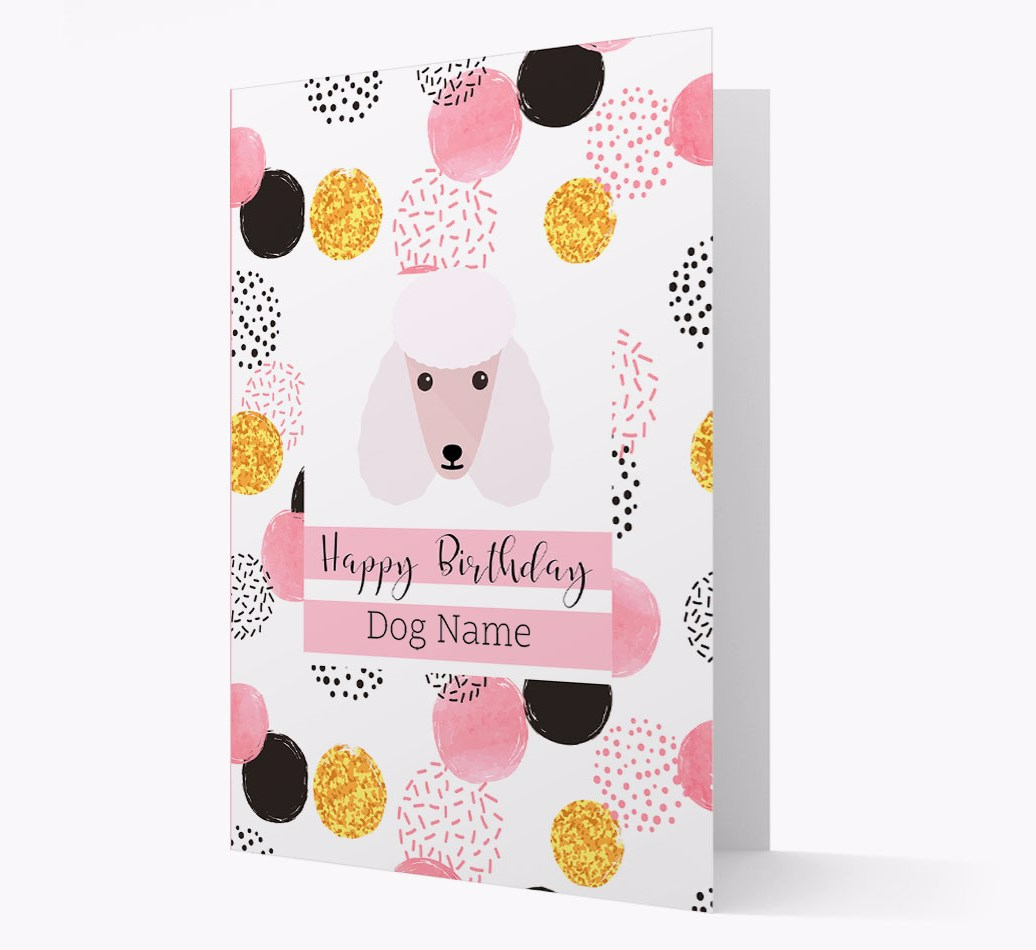 Birthday Card 'Happy Birthday {dogsName}' with Poodle Yappicon