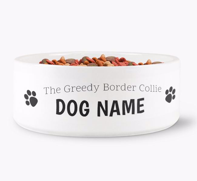 ' the greedy Border Collie' Dog Bowl