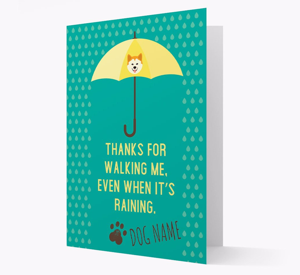 Personalized Card 'Thanks for walking me, even when it's raining' with Chusky Icon