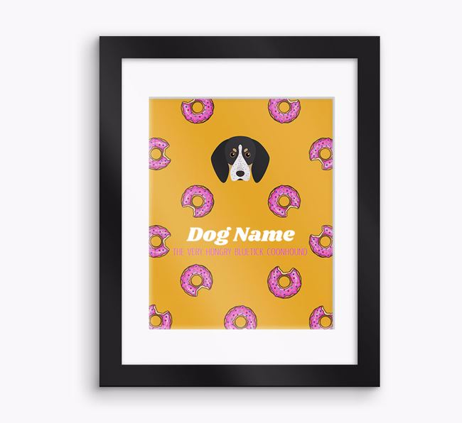 Personalised ' the very hungry Bluetick Coonhound' Framed Print